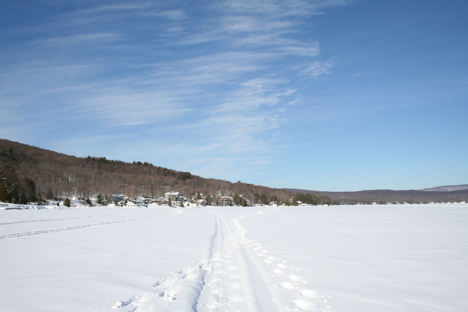 Picturesque Snow Scenery with Footprints