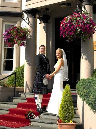 Bride and Groom at The Royal Hotel, Bridge of Allan, Stirling